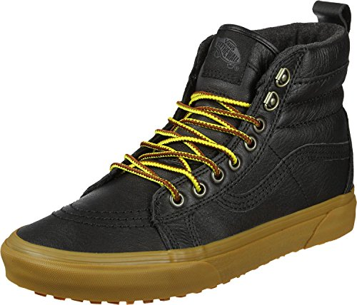 VANS MENS SH8 HI MTE BLACK LEATHER GUM SIZE 7.5