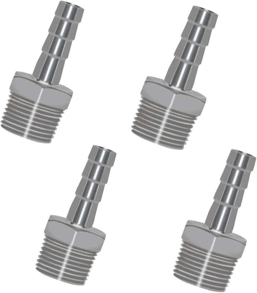 Pack of 4 GLIDESTORE 304 Stainless Steel 1//2 Barb Hose to 1//2 Male NPT Home Brew Fitting Water Fuel Air