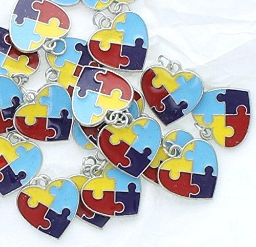 Lot of 36 Autism Awareness Enamel Heart Charm Pendants (Enamel Multi Heart)