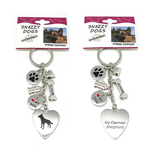 German Shepherd Dog Charm (Frogsac Stainless Steel Engraved Dog Key Chains with Charms (German Shepherd))