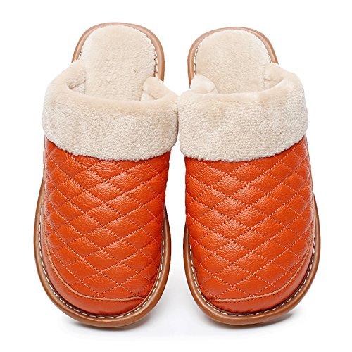 Cwaixxzz Zapatillas Suaves Cuero De Zapatillas De Algodón Casa Habitación Interior Son Cálidas Calzado De Invierno Cortinas De Vaca Entre Hombres Y Mujeres Le, 25 = 35/36 Código Rojo