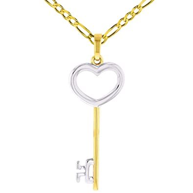 b54b0dfbda52e Amazon.com  Solid 14K Yellow Gold Open Key to My Heart Love Pendant with  Figaro Chain Necklace