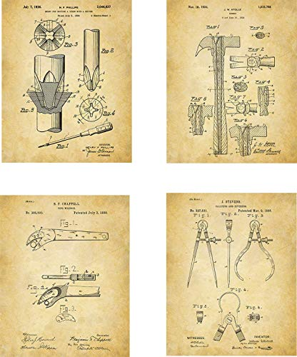 Tools Patent Wall Art Prints – set of Four (8×10) Unframed – wall art decor for handyman