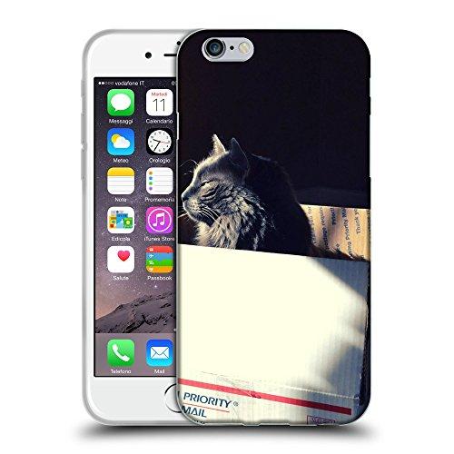 """Just Phone Cases Coque de Protection TPU Silicone Case pour // V00004185 somnolent chat noir dans une boîte // Apple iPhone 6 6S 6G PLUS 5.5"""""""