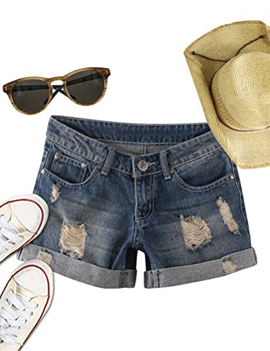Nlife Women Women's Fashion Plus Size Low Waist Hot Shorts Summer Ripped Jean Shorts (US 2XL, (Summer Denim Jean Shorts)