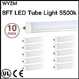 40W 96'' T12 8ft LED Tube Single Pin,F96T12 8' LED Fluorescent Tube Replacement,120V 277V Input, 5500K Daylight White,4000LM Frost lens Super Bright (10PCS 5500K Daylight White)
