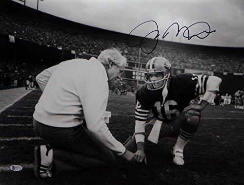 Joe Montana Autographed 49ers 16x20 Kneeling w/Walsh Photo-Beckett Auth Blk