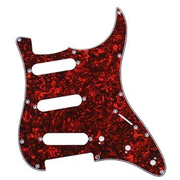 Concha Roja Pickguard De 3 Capas 11 Hoyos Para La Guitarra Del Comienzo Sss: Amazon.es: Instrumentos musicales