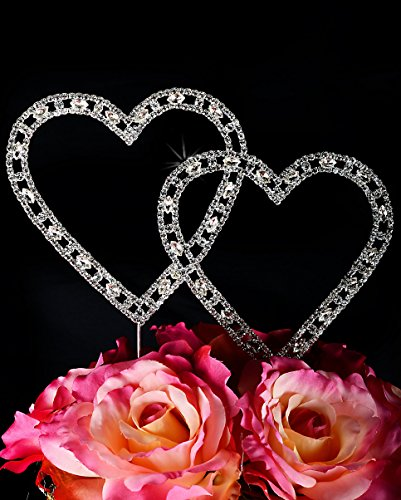 Vintage Swarovski Crystal Double Heart Wedding Cake Topper