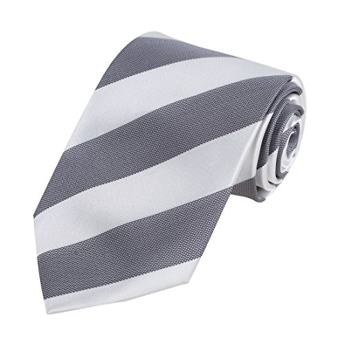 - Dan Smith DAA7A03D White Grey Stripes Fitness Fabric Necktie Microfiber Neck Ties For ComFort