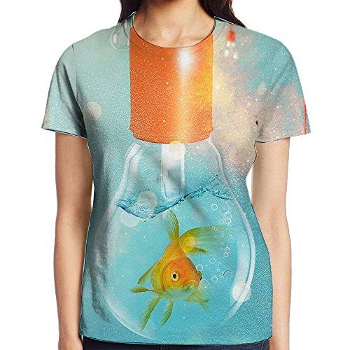 D Printed Short Sleeve Crewneck Casual T-Shirts Graphic Tees Sweatshirt For Women (Goldfish Lamp)