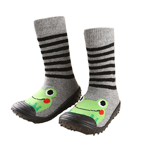 Infant Baby Cartoon Patterned Soft Rubber Bottom Anti-slip Floor Socks Boots Frog 9-18M (Infant Soft Bottom Shoes Boys)