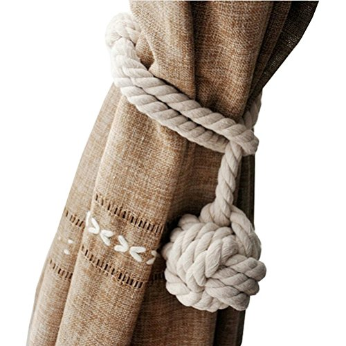 NUOLUX Hand Knitting Curtain Rope Rural Cotton Rope Tie Band for Beach Decor Rustic Rooms (Beach Themed Room Decor)