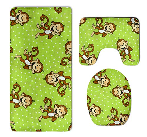 Monkey Green Rug - HOMESTORES 3 Piece Bathroom Rug Set - Green Clever Monkey Skidproof Toilet Bath Rug Mat U Shape Contour Lid Cover For Shower Spa