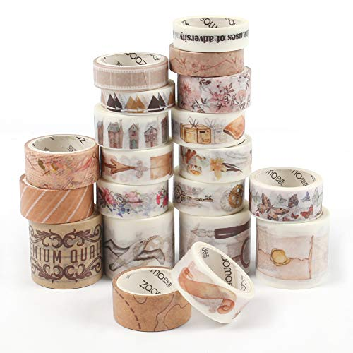 SallyFashion Washi Tape, 20 Rolls Dekorative Tape Scrapbook Tape for DIY Crafts Gift Wrapping Festivals Party Decoration