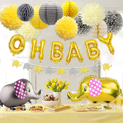 Baby Shower Decorations Neutral for Boy or Girl, Baby Shower Yellow and Gray Elephant Theme Paper Pom Poms and Lanterns, Elephant Walking Balloon and Garland