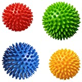 Acupressure Balls - Pack of 4 Spiky Massage Balls, 2 of 7.5cm & 2 of 9cm, Stress Reflexology, Muscle Therapy, Porcupine Sensory Ball Set