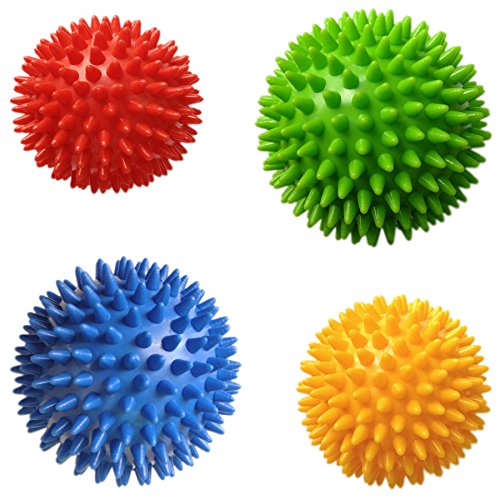 Squishy Ball With Spikes : Pack of 4 Spiky Massage Balls, Hard & Soft Combo, 2 of 7.5cm & - Import It All