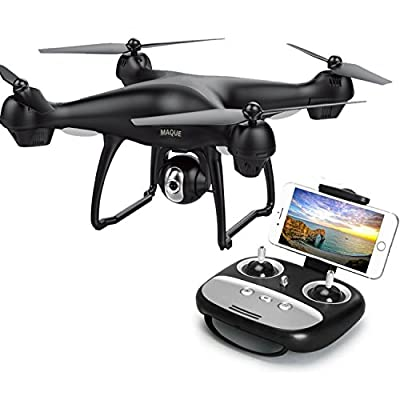 RC Drone with Camera, MaQue MQ001 FPV Live Video and GPS Return Home Quadcopter with Adjustable Wide-Angle 720P HD WiFi Camera- Follow Me, Altitude Hold, Intelligent Battery, Long Control Distance from MaQue