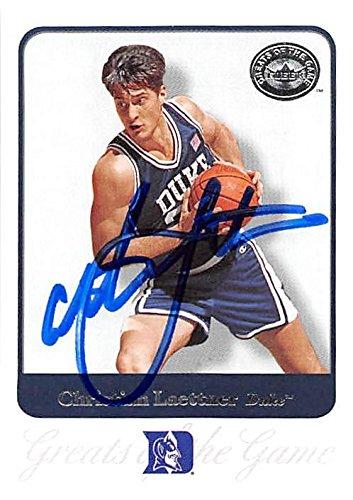 2001 Ncaa Basketball Final Four - Christian Laettner autographed basketball card (Duke Blue Devils NCAA Final Four Champion) 2001 Fleer Greats Game #13
