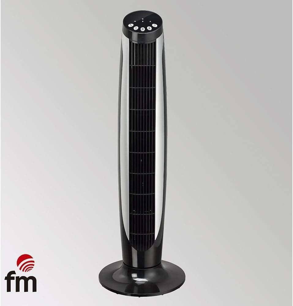 Ventilador DE Torre FM VTR Negro 45W 3 Niveles Potencia Temporizador 8H Mando A Distancia 91CM DE Altura: Amazon.es ...
