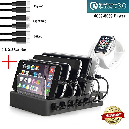 Fastest Charging Station with 6 USB Cables, QC 3.0,Type C,iWatch Holder,COSOOS 6-Port USB Quick Charging Stand,Docking Station Organizer Hub for - Outlet Station Watch