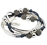 London Silverplated 2 Strand Natural True Blue Leather Wrap Bracelet (Medium (6 1/4'' - 6 1/2''))