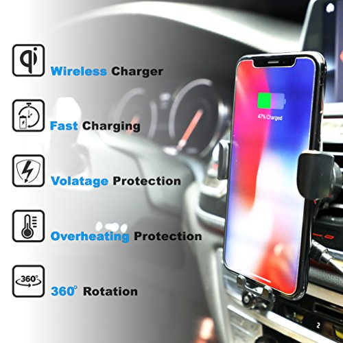Fast Wireless Car Charger - Qi Wireless Charger Car Mount and Phone Holder for Car - 10W Wireless Charger for Samsung Galaxy S9/S9+/S8/S8+ and Apple iPhone X/8 and Qi Enabled Devices   Drive Safe by Axion (Image #2)