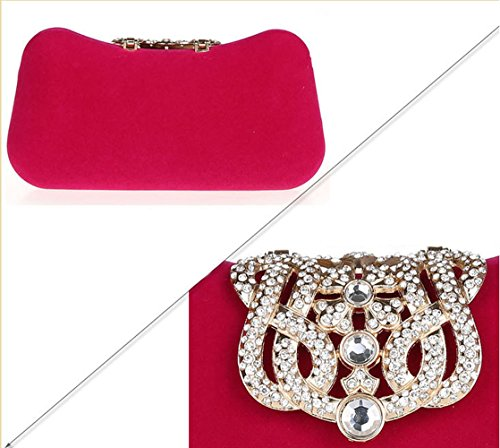 with Clutch Rhinestone HeySun Beaded Chain Women's Party Elegant Evening Apricot Purse Detachable wXwqt8U