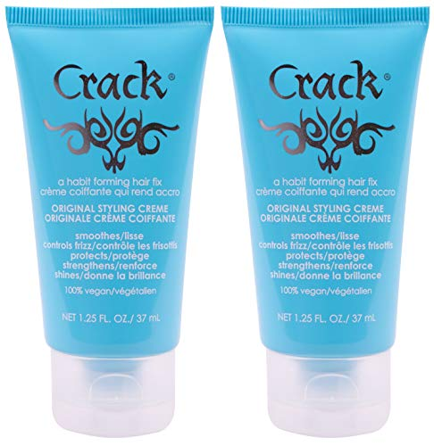CRACK HAIR FIX Styling Creme - Multi-Tasking, Anti-Frizz, Leave-In Styling Aid With Protection from Humidity, Chlorine, Heat Treatments & Sun ( 1.25 Oz / 57 Milliliter - PACK OF TWO)
