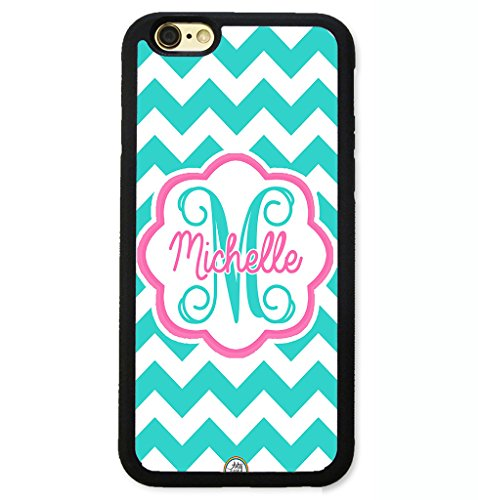 iPhone 8 Case, iPhone 7 Case, ArtsyCase Teal Pink Chevron Floral Monogram Personalized Name Phone Case - iPhone 7 and iPhone 8 (Black) (Pink Monogram Iphone)