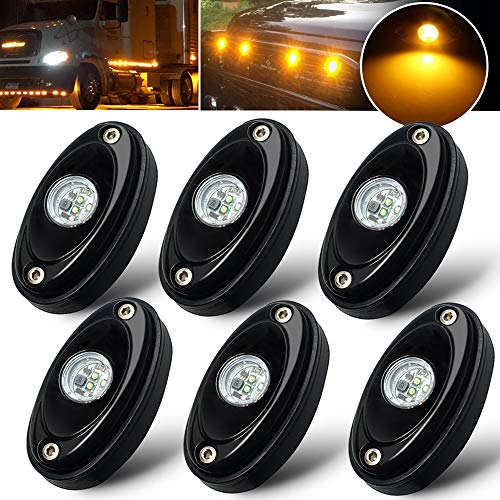 6 Pods Amber LED Rock Light Kit LED Neon Lights for Jeep TJ JK UTV ATV SUV RV Off Road Ranger Camper Boat Underglow Lamp Truck Trail Fender Bed Lighting Under Body Light Footwell Waterproof