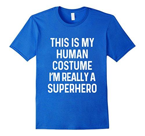 Mens Funny Superhero Costume Shirt Halloween Kids Adult Men Women XL Royal (Funny Female Costume Ideas)