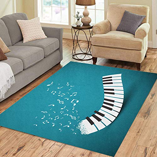 Semtomn Area Rug 5' X 7' Blue Instrument Flying Notes Abstract Piano Keyboard Music Event Home Decor Collection Floor Rugs Carpet for Living Room Bedroom Dining -