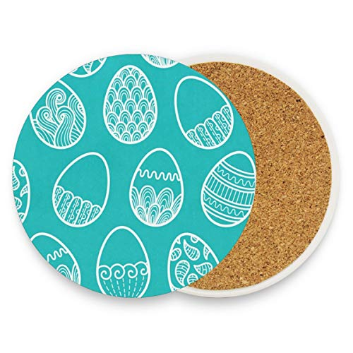 Green Eggs Coasters, Protect Your Furniture From Stains,Coffee, Cork Coasters Funny Housewarming Gift,Round Cup Mat Pad For Home, Kitchen Or Bar 1 -