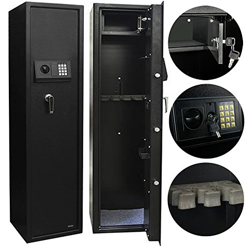 Electronic Rifle Gun Safe Large Firearms Shotgun Storage Cabinet with Small Lock Box by FCH