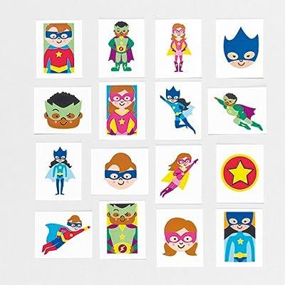 Baker Ross- Calcomanías Infantiles de superhéroes (Pack de 24) Ideales para Bolsas de cotillón Infantiles