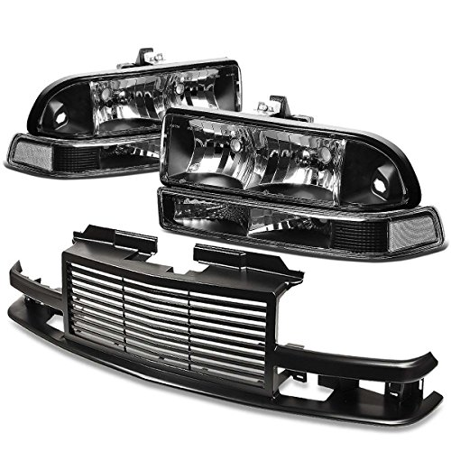 For Chevy S10/Blazer GMT 325/330 Headlight (Black Housing)+Front Grille (Black)
