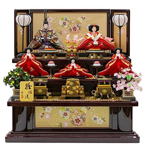 雛人形 五人飾り 三段飾り 塗桐 幅82cm [fz-4] ひな人形   B07K7ZLZGH