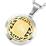 MeMeDIY Silver Gold Two Tone Stainless Steel Pendant Necklace Taurus Horoscope Zodiac,Come with Chain - Customized Engraving