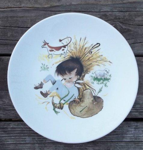 "Vintage Little Boy Blue Staffordshire England China Plate - 6.75"" diameter"