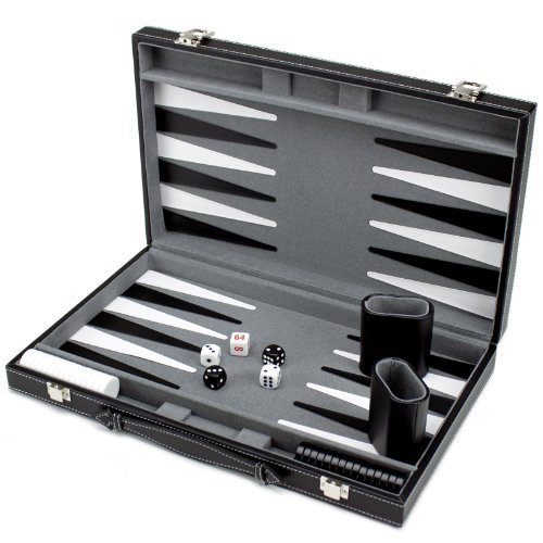 Brybelly Deluxe 15-Inch Backgammon Set with Stitched Black Leatherette Case by Brybelly
