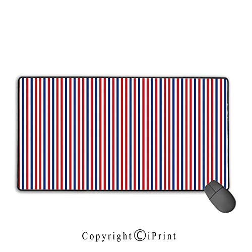 Non-Slip Rubber Base Mouse pad,USA,Symbolic Colors of American Independence Day Classic Tones National Concept,Red White Night Blue,Suitable for laptops, Computers, PCs, Keyboards, Mouse pad with loc