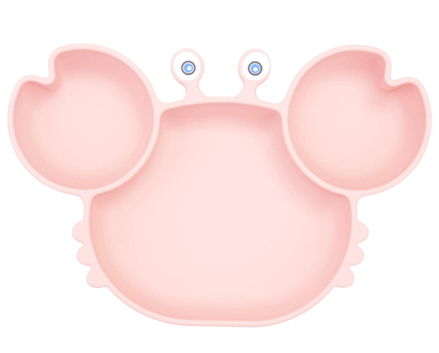 Silicone Suction Plate for Toddlers - Self Feeding Training Divided Plate Dish and Bowl for Baby and Toddler, Fits for Most Highchairs Trays, BPA Free Microwave Dishwasher Safe (Crab-Pink)