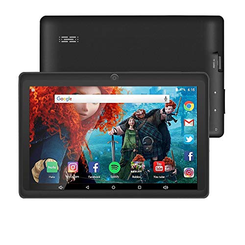 7 inch Tablet Google Android 8.0 Quad Core 1024x600 Dual Camera Wi-Fi Bluetooth 1GB/8GB Play Store Netflix Skype 3D Game Supported GMS Certified (Black)