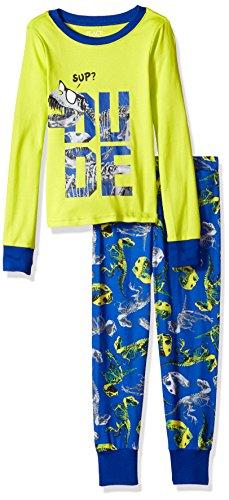The Children's Place Big Boys' Glow in The Dark Dinosaur 2 Piece Sleepwear Set, Lime Splash 90469, -