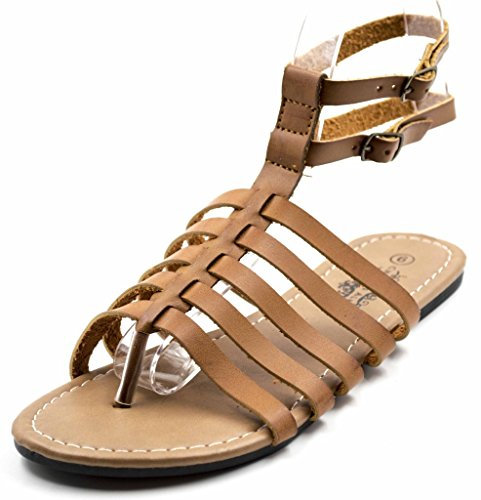 Charles Albert Womens Double Ankle Strappy Gladiator Boho Sandaal Cognac