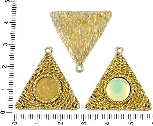 - 2pcs Czech Matte Gold Patina Antique Silver Tone Round Pendant Cabochon Settings Triangle Bezel Blank Tray Metal Base Fit Cameo 10mm
