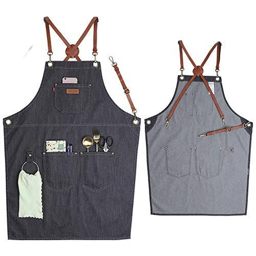 VANTOO Denim Apron for Men Women-Tool Work Apron for Chef Cooking Grill BBQ Garden, Painting Woodworking Apron with Pockets, Towel Loop, Quick Release Buckle, Cross-Back Straps & Adjustable M to XXL