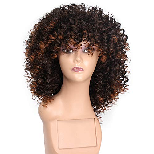 MARIAN Wigs Women's African American Curly Wigs - Synthetic Hair Mixed Brown Hair -